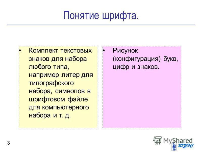 Понятие шрифта. 3 Комплект текстовых знаков для набора любого типа, например литер для типографского набора, символов в шрифтовом файле для компьютерного набора и т. д. Рисунок (конфигурация) букв, цифр и знаков.