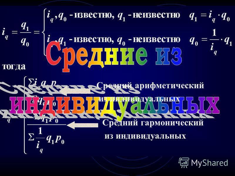 Средний гармонический из индивидуальных Средний арифметический из индивидуальных