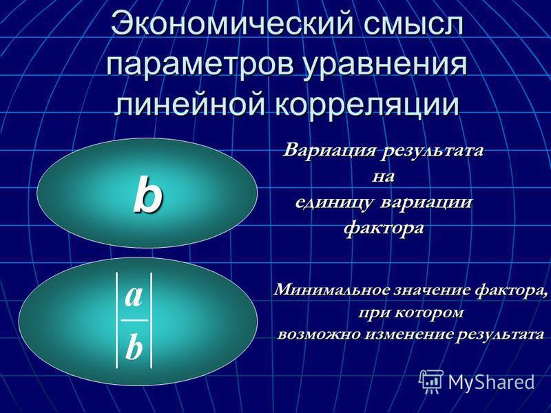 Экономический смысл параметров уравнения линейной корреляции b Вариация результата на единицу вариации фактора Минимальное значение фактора, при котором возможно изменение результата