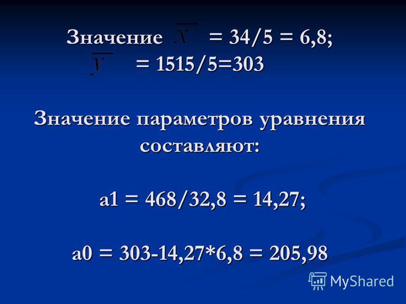 Значение = 34/5 = 6,8; = 1515/5=303 Значение параметров уравнения составляют: a1 = 468/32,8 = 14,27; а 0 = 303-14,27*6,8 = 205,98