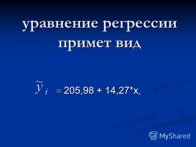 уравнение регрессии примет вид = 205,98 + 14,27*х,