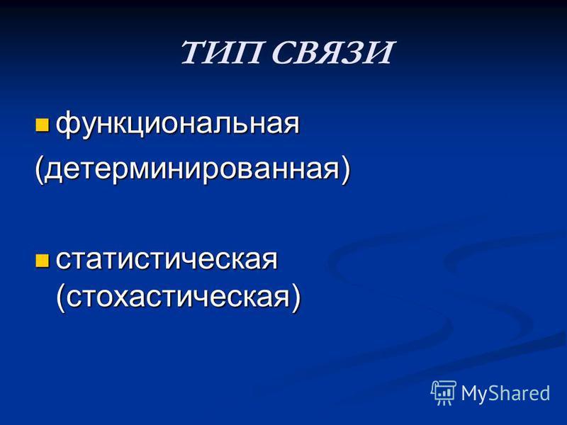ТИП СВЯЗИ функциональная функциональная(детерминированная) статистическая (стохастическая) статистическая (стохастическая)