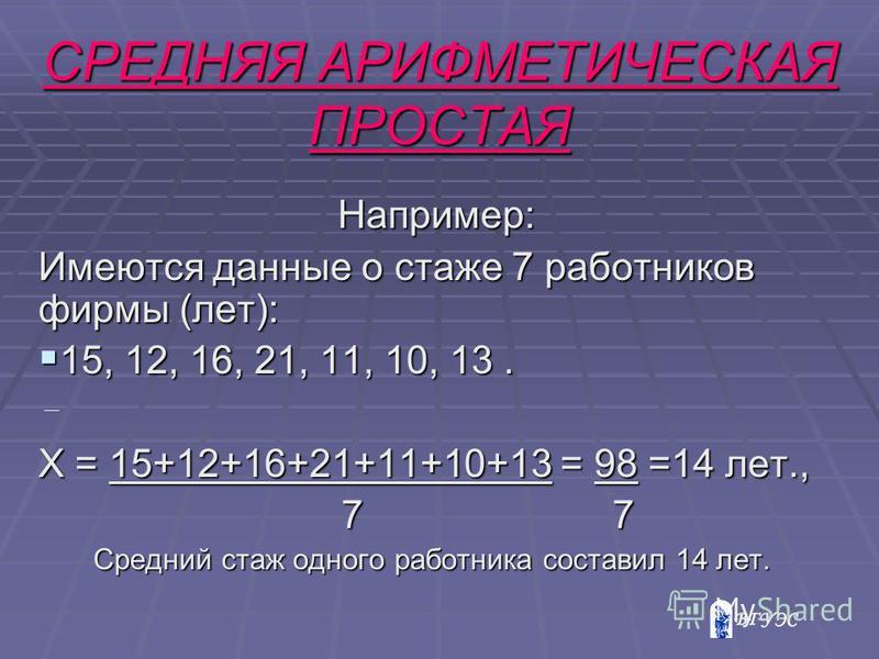 Например: Например: Имеются данные о стаже 7 работников фирмы (лет): 15, 12, 16, 21, 11, 10, 13. 15, 12, 16, 21, 11, 10, 13. Х = 15+12+16+21+11+10+13 = 98 =14 лет., 7 7 7 7 Средний стаж одного работника составил 14 лет. СРЕДНЯЯ АРИФМЕТИЧЕСКАЯ ПРОСТАЯ