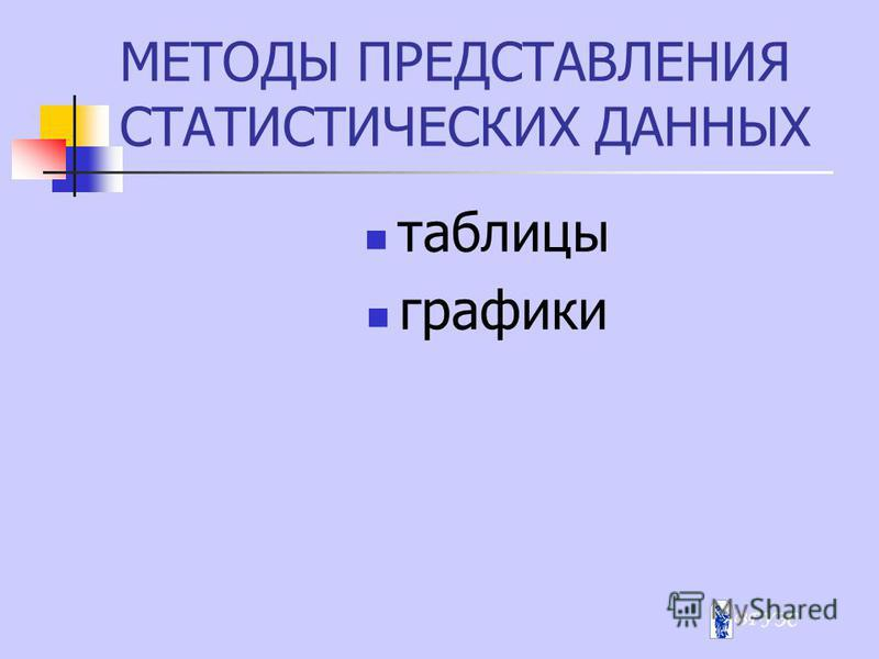 МЕТОДЫ ПРЕДСТАВЛЕНИЯ СТАТИСТИЧЕСКИХ ДАННЫХ таблицы графики