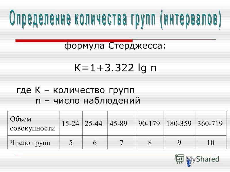 формула Стерджесса: К=1+3.322 lg n где К – количество групп n – число наблюдений Объем совокупности 15-2425-4445-8990-179180-359360-719 Число групп 5678910