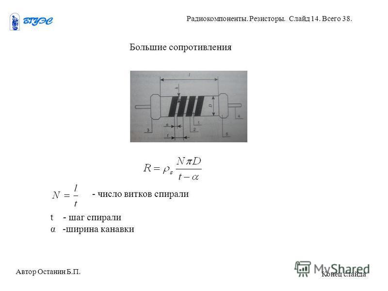 Большие сопротивления - число витков спирали t - шаг спирали α -ширина канавки Автор Останин Б.П. Радиокомпоненты. Резисторы. Слайд 14. Всего 38. Конец слайда