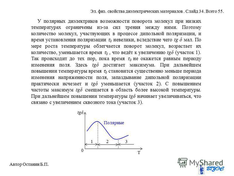У полярных диэлектриков возможности поворота молекул при низких температурах ограничены из-за сил трения между ними. Поэтому количество молекул, участвующих в процессе дипольной поляризации, и время установления поляризации 0 невелики, вследствие чег
