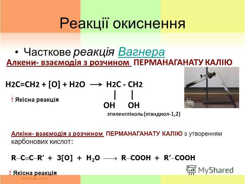 Реакції окиснення Часткове реакція ВагнераВагнера Алкени- взаємодія з розчином ПЕРМАНАГАНАТУ КАЛІЮ Н 2 С=СН 2 + [O] + H 2 O H 2 C - CH 2 OH OH этиленгліколь (этандиол-1,2) ! Якісна реакція Алкіни- взаємодія з розчином ПЕРМАНАГАНАТУ КАЛІЮ з утворенням