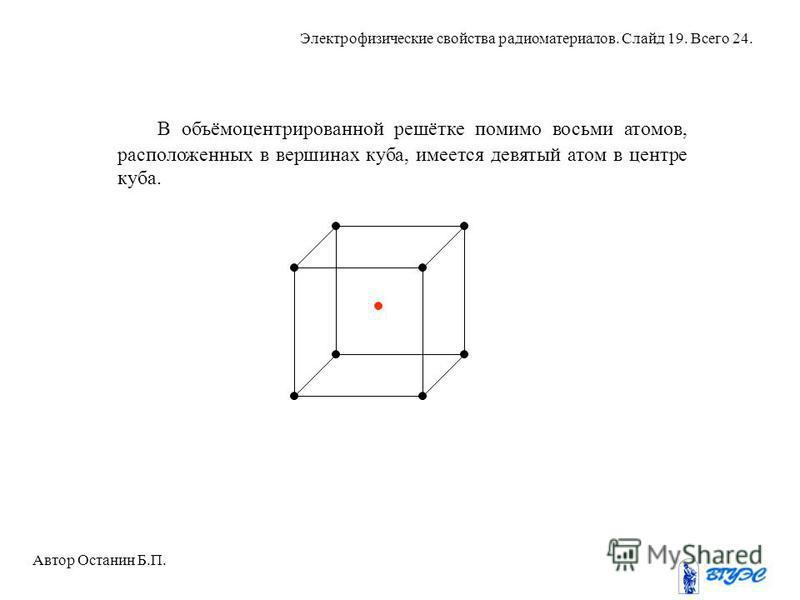 В объёмоцентрированной решётке помимо восьми атомов, расположенных в вершинах куба, имеется девятый атом в центре куба. Автор Останин Б.П. Электрофизические свойства радиоматериалов. Слайд 19. Всего 24.