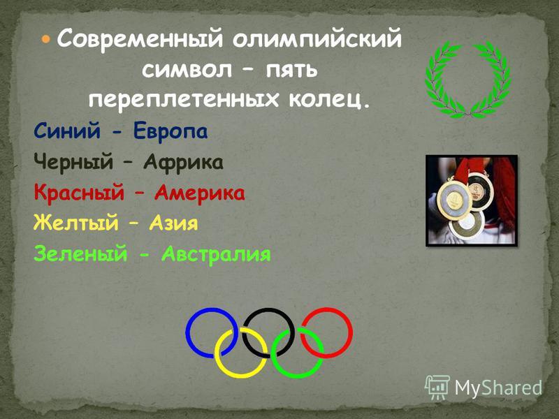 Современный олимпийский символ – пять переплетенных колец. Синий - Европа Черный – Африка Красный – Америка Желтый – Азия Зеленый - Австралия