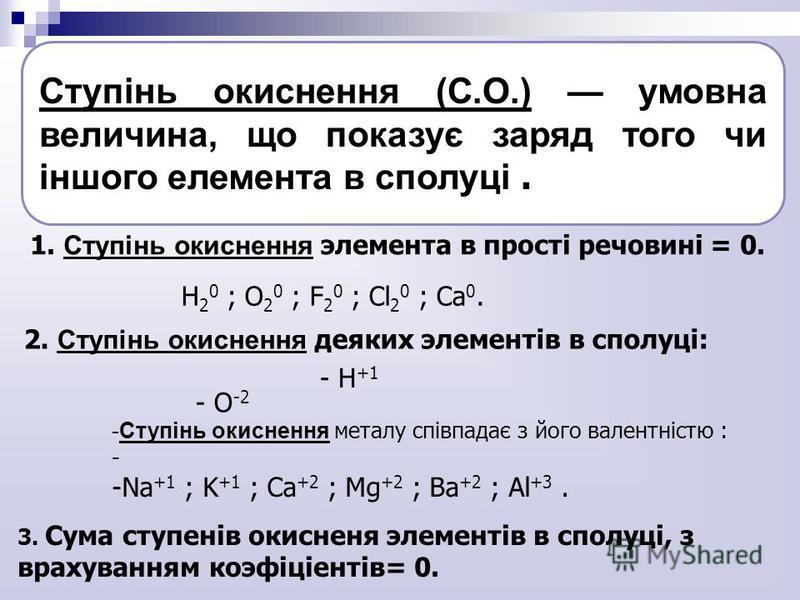 Ступінь окиснення (С.О.) умовна величина, що показує заряд того чи іншого елемента в сполуці. 1. Ступінь окиснення элемента в прості речовині = 0. H 2 0 ; O 2 0 ; F 2 0 ; Cl 2 0 ; Ca 0. 2. Ступінь окиснення деяких элементів в сполуці: - H +1 - О -2 -