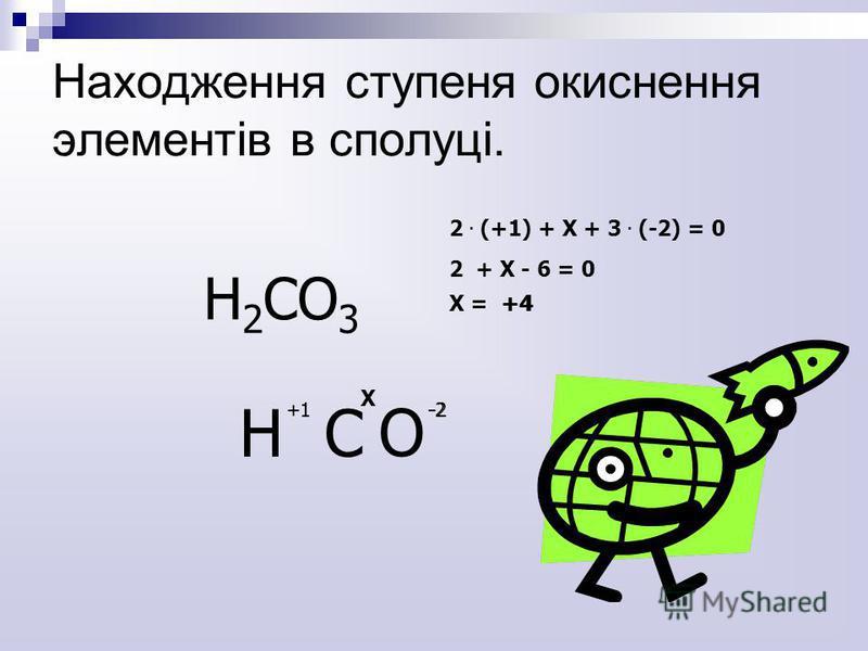 H2СO3H2СO3 H С +1 О -2+1-2 Х 2. (+1) + Х + 3. (-2) = 0 2 + Х - 6 = 0 Х = +4+4 Находження ступеня окиснення элементів в сполуці.