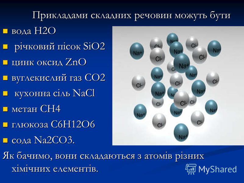 Прикладами складних речовин можуть бути Прикладами складних речовин можуть бути вода Н2О вода Н2О річковий пісок SiO2 річковий пісок SiO2 цинк оксид ZnO цинк оксид ZnO вуглекислий газ СО2 вуглекислий газ СО2 кухонна сіль NaCl кухонна сіль NaCl метан