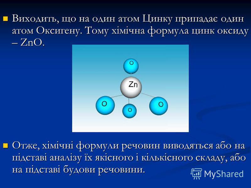 Виходить, що на один атом Цинку припадає один атом Оксигену. Тому хімічна формула цинк оксиду – ZnO. Виходить, що на один атом Цинку припадає один атом Оксигену. Тому хімічна формула цинк оксиду – ZnO. Отже, хімічні формули речовин виводяться або на