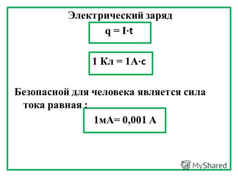 Электрический заряд q = It 1 Кл = 1А с Безопасной для человека является сила тока равная : 1 мА= 0,001 А