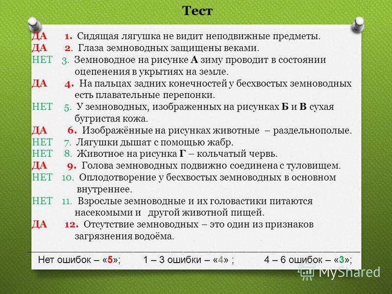 Тест ДА 1. Сидящая лягушка не видит неподвижные предметы. ДА 2. Глаза земноводных защищены веками. НЕТ 3. Земноводное на рисунке А зиму проводит в состоянии оцепенения в укрытиях на земле. ДА 4. На пальцах задних конечностей у бесхвостых земноводных