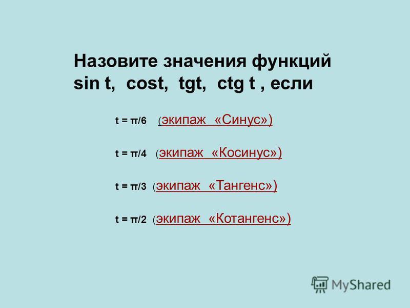 Назовите значения функций sin t, cost, tgt, ctg t, если t = π/6 ( экипаж «Синус») t = π/4 ( экипаж «Косинус») t = π/3 ( экипаж «Тангенс») t = π/2 ( экипаж «Котангенс»)