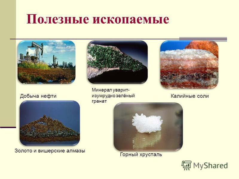 Полезные ископаемые Добыча нефти Минерал уварит- изумрудно зелёный гранат Калийные соли Золото и вишерские алмазы Горный хрусталь