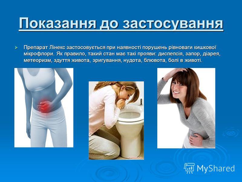 Показання до застосування Препарат Лінекс застосовується при наявності порушень рівноваги кишкової мікрофлори. Як правило, такий стан має такі прояви: диспепсія, запор, діарея, метеоризм, здуття живота, зригування, нудота, блювота, болі в животі. Пре