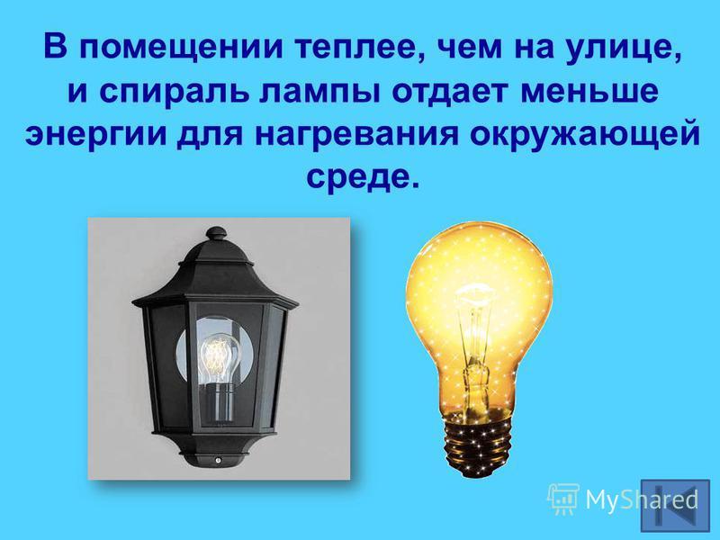 В помещении теплее, чем на улице, и спираль лампы отдает меньше энергии для нагревания окружающей среде.