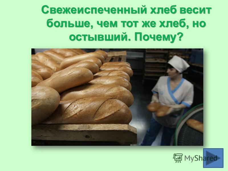 Свежеиспеченный хлеб весит больше, чем тот же хлеб, но остывший. Почему?