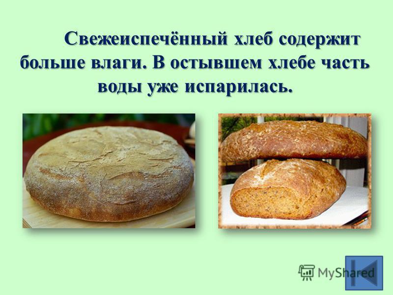 Свежеиспечённый хлеб содержит больше влаги. В остывшем хлебе часть воды уже испарилась.