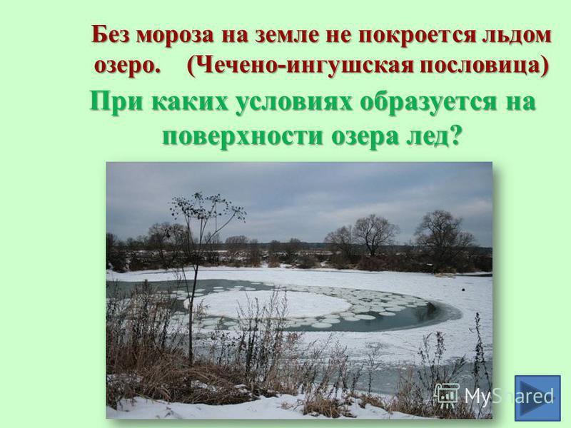 Без мороза на земле не покроется льдом озеро. (Чечено-ингушская пословица) При каких условиях образуется на поверхности озера лед?
