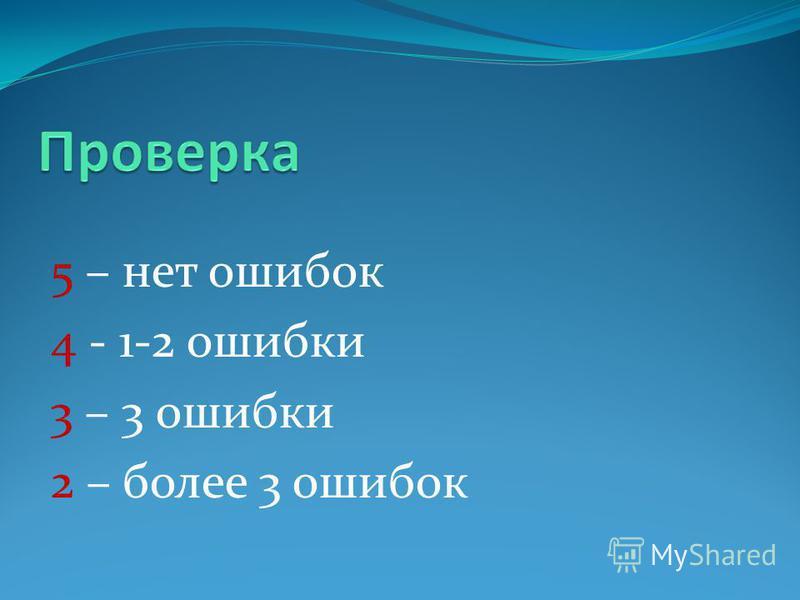 5 – нет ошибок 4 - 1-2 ошибки 3 – 3 ошибки 2 – более 3 ошибок