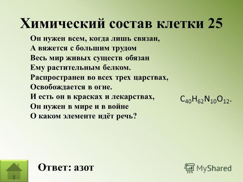Химический состав клетки 25 Ответ: азот Он нужен всем, когда лишь связан, А вяжется с большим трудом Весь мир живых существ обязан Ему растительным белком. Распространен во всех трех царствах, Освобождается в огне. И есть он в красках и лекарствах, О