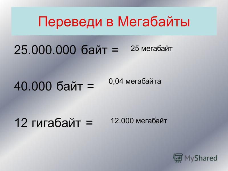 Переведи в Мегабайты 25.000.000 байт = 40.000 байт = 12 гигабайт = 25 мегабайт 0,04 мегабайта 12.000 мегабайт