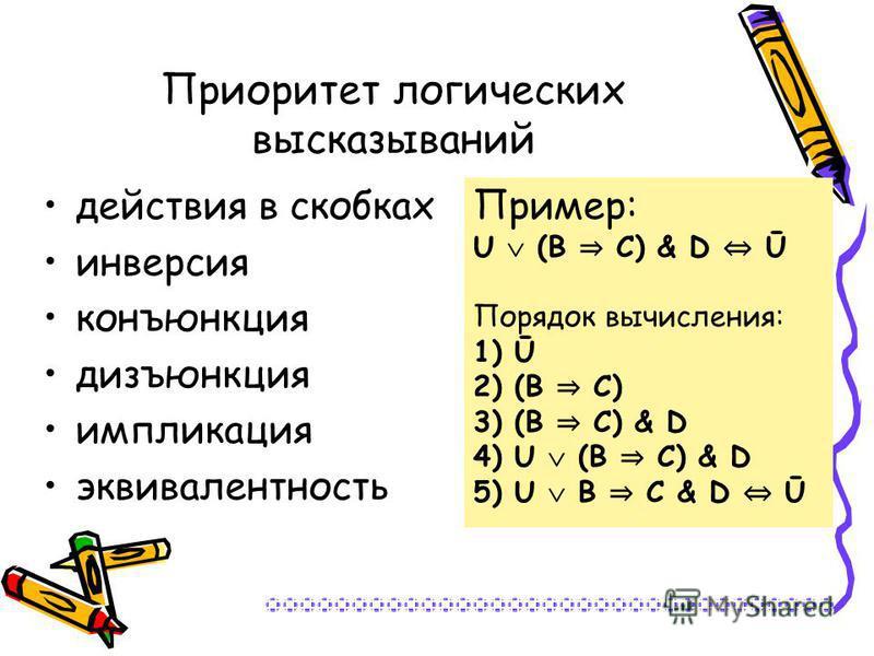 Приоритет логических высказываний действия в скобках инверсия конъюнкция дизъюнкция импликация эквивалентность Пример: U (В С) & D Ū Порядок вычисления: 1) Ū 2) (В С) 3) (В С) & D 4) U (В С) & D 5) U В С & D Ū