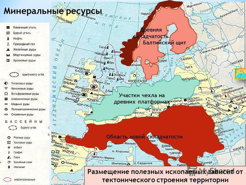 Минеральные ресурсы Какими полезными ископаемыми выделяется Европа? Объясните их размещение. Балтийский щит Древняя складчатость Участки чехла на древних платформах Область новой складчатости Размещение полезных ископаемых зависит от тектонического с