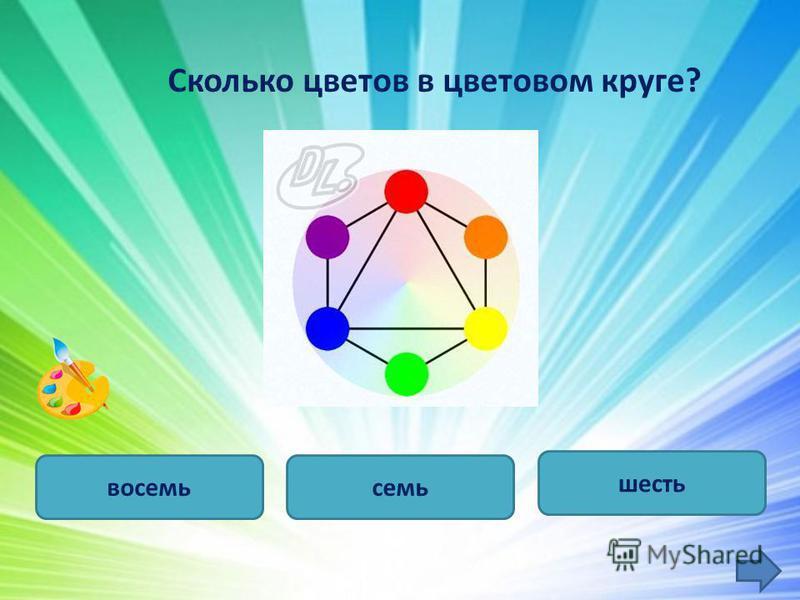 Сколько цветов в цветовом круге? семь шесть восемь