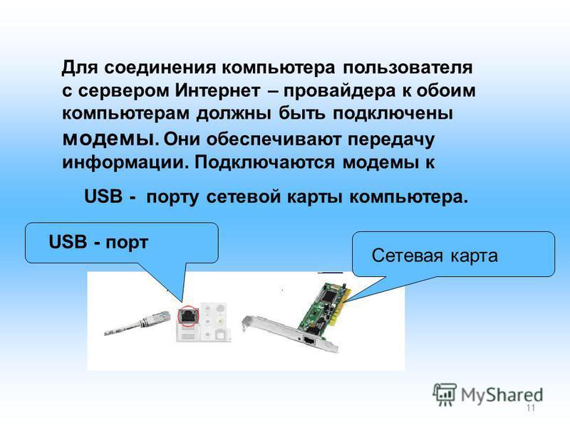 11 Для соединения компьютера пользователя с сервером Интернет – провайдера к обоим компьютерам должны быть подключены модемы. Они обеспечивают передачу информации. Подключаются модемы к USB - порту сетевой карты компьютера. Сетевая карта USB - порт