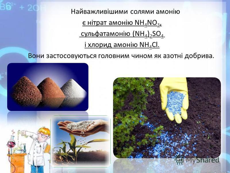 Найважливішими солями амонію є нітрат амонію NH 4 NO 3, сульфатамонію (NH 4 ) 2 SO 4 і хлорид амонію NH 4 Cl. Вони застосовуються головним чином як азотні добрива.