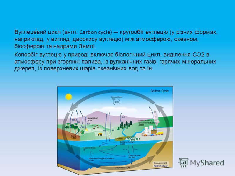 Вуглеце́вий цикл (англ. Carbon cycle) кругообіг вуглецю (у різних формах, наприклад, у вигляді двоокису вуглецю) між атмосферою, океаном, біосферою та надрами Землі. Колообіг вуглецю у природі включає біологічний цикл, виділення СО2 в атмосферу при з