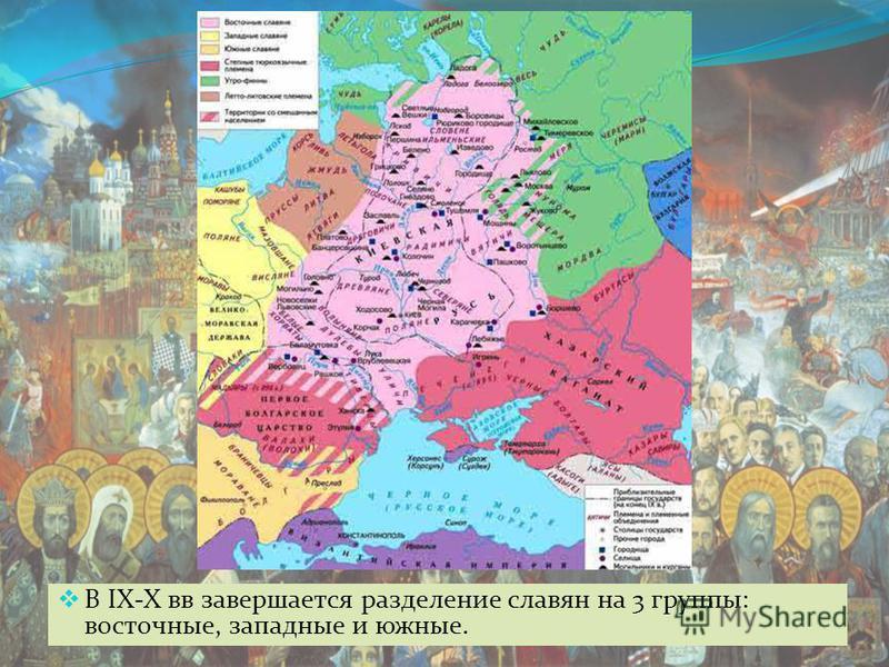 В IX-X вв завершается разделение славян на 3 группы: восточные, западные и южные.