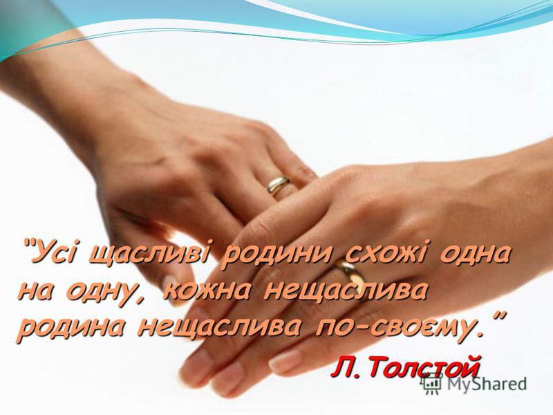 Усі щасливі родини схожі одна на одну, кожна нещаслива родина нещаслива по-своєму. Л.Толстой