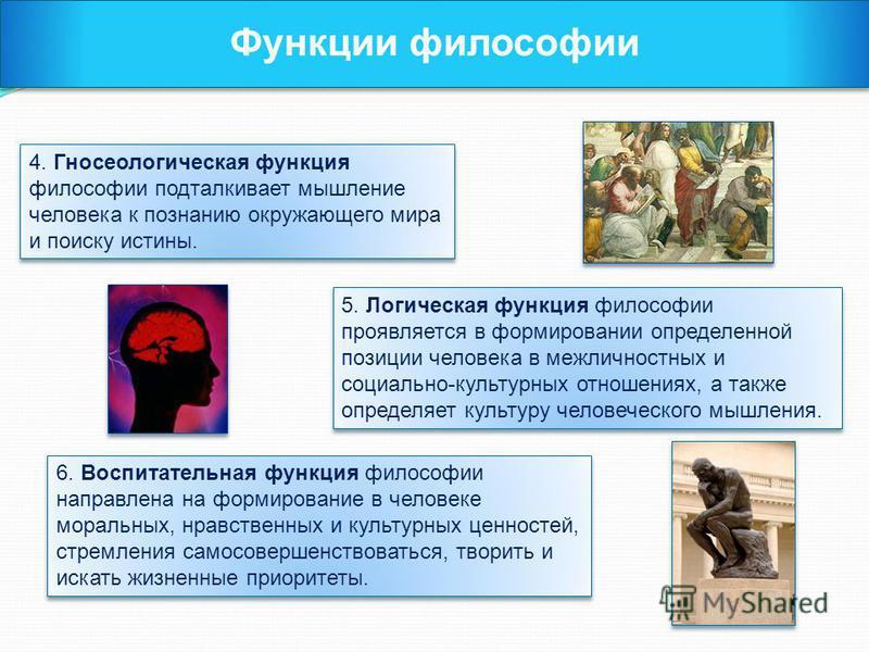 Функции философии 4. Гносеологическая функция философии подталкивает мышление человека к познанию окружающего мира и поиску истины. 5. Логическая функция философии проявляется в формировании определенной позиции человека в межличностных и социально-к
