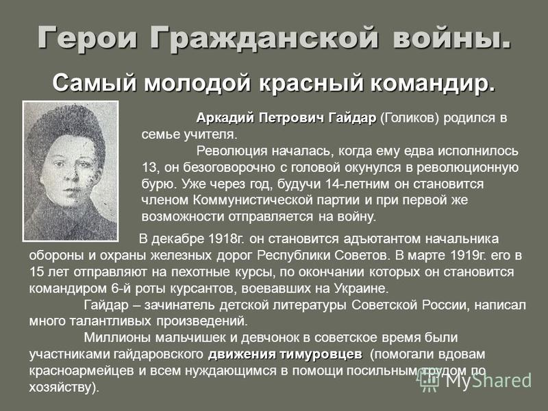 Герои Гражданской войны. Самый молодой красный командир. Аркадий Петрович Гайдар (Голиков) родился в семье учителя. Революция началась, когда ему едва исполнилось 13, он безоговорочно с головой окунулся в революционную бурю. Уже через год, будучи 14-