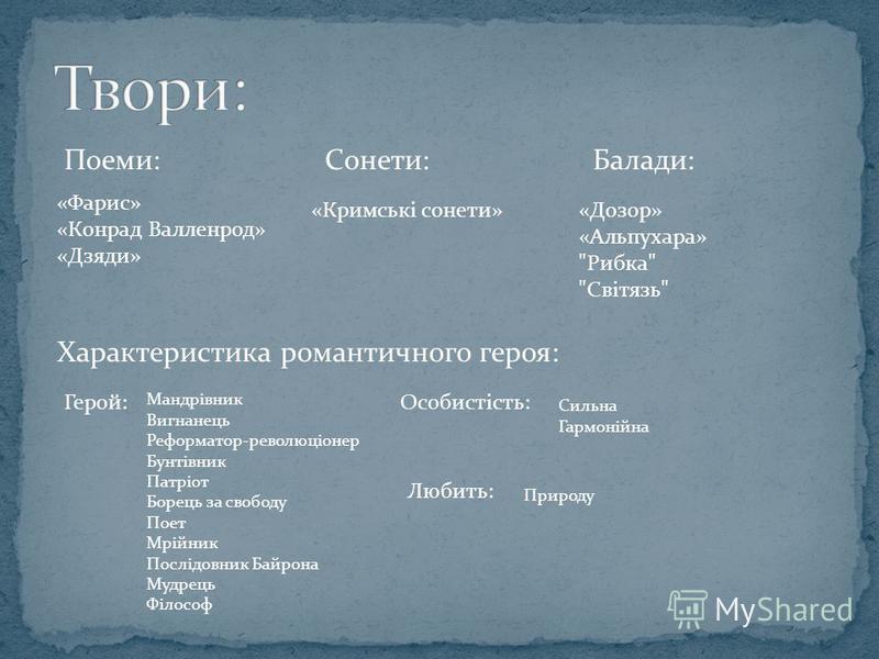 Поеми: «Фарис» «Конрад Валленрод» «Дзяди» Сонети: «Кримські сонети» Балади: «Дозор» «Альпухара»