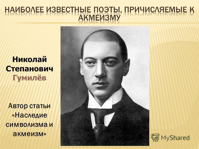Николай Степанович Гумилёв Автор статьи «Наследие символизма и акмеизм»