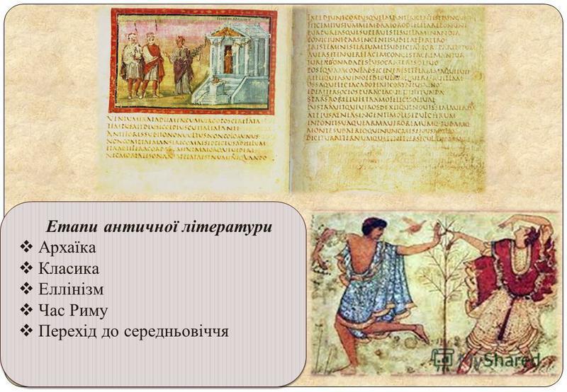 Етапи античної літератури Архаїка Класика Еллінізм Час Риму Перехід до середньовіччя