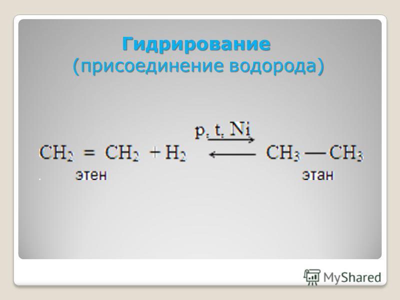 Гидрирование (присоединение водорода)
