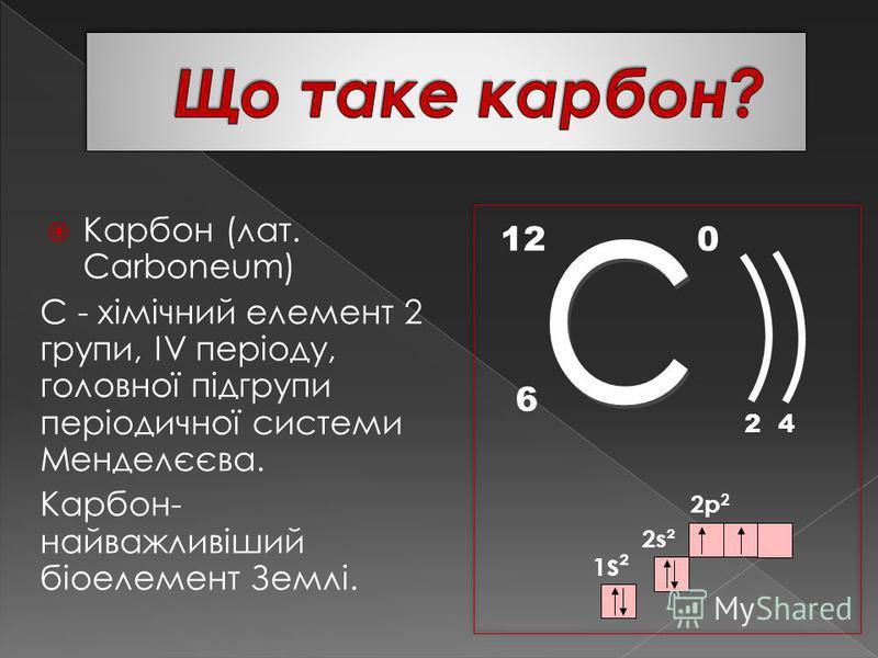 Карбон (лат. Carboneum) С - хімічний елемент 2 групи, IV періоду, головної підгрупи періодичної системи Менделєєва. Карбон- найважливіший біоелемент Землі. 12 6 0 24 1 s² 2p 2 2s²