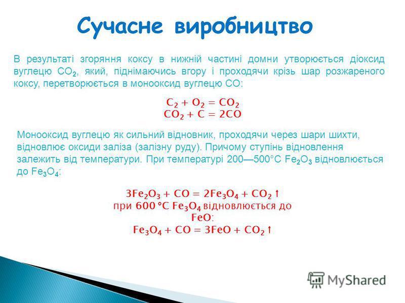 Сучасне виробництво В результаті згоряння коксу в нижній частині домни утворюється діоксид вуглецю CO 2, який, піднімаючись вгору і проходячи крізь шар розжареного коксу, перетворюється в монооксид вуглецю CO: C 2 + O 2 = СО 2 CO 2 + C = 2CO Моноокси