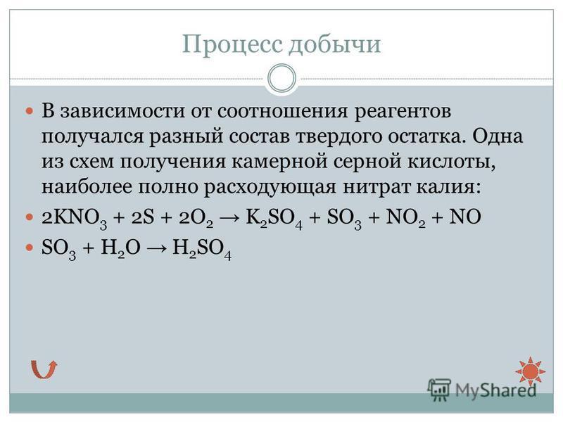 Процесс добычи В зависимости от соотношения реагентов получался разный состав твердого остатка. Одна из схем получения камерной серной кислоты, наиболее полно расходующая нитрат калия: 2KNO 3 + 2S + 2O 2 K 2 SO 4 + SO 3 + NO 2 + NO SO 3 + H 2 O H 2 S