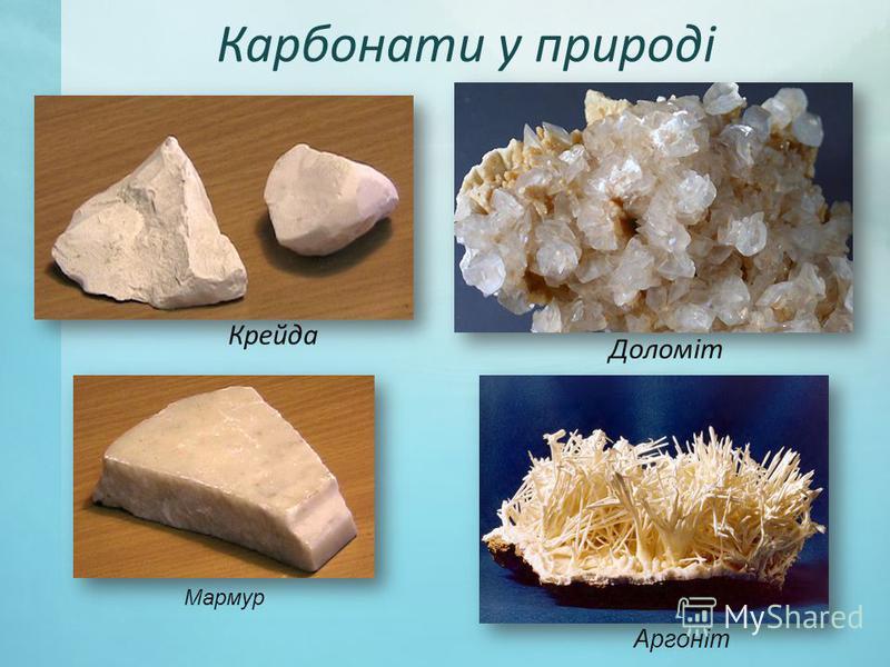 Карбонати у природі Доломіт Крейда Мармур Аргоніт