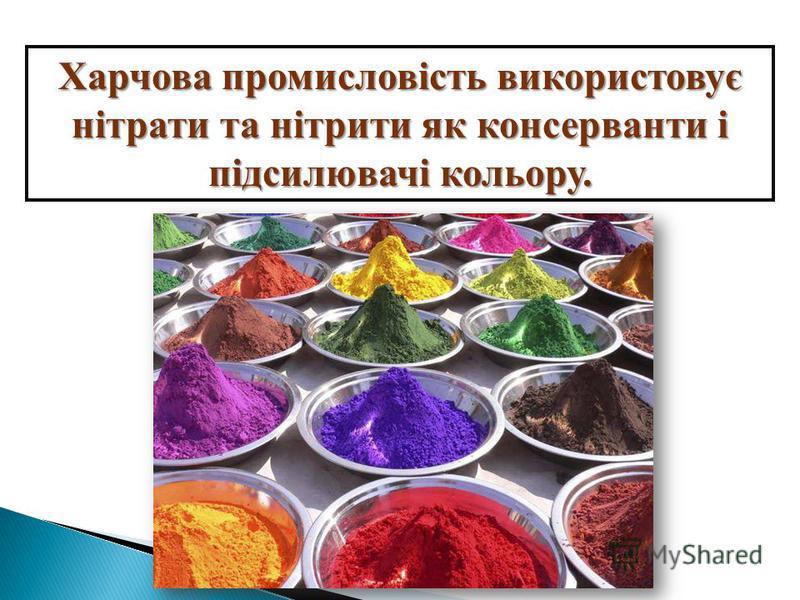 Харчова промисловість використовує нітрати та нітрити як консерванти і підсилювачі кольору.