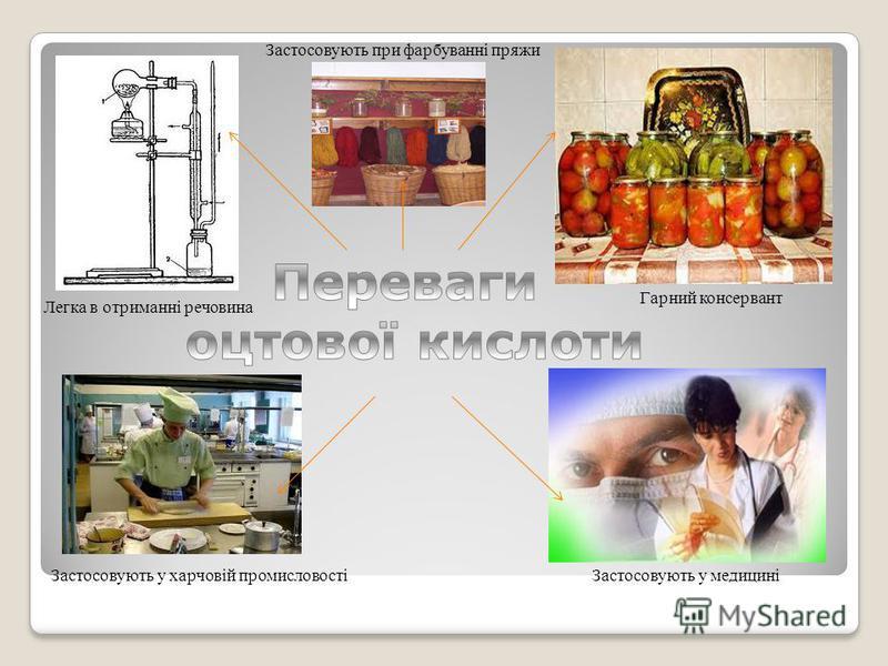 Застосовують у харчовій промисловостіЗастосовують у медицині Гарний консервант Легка в отриманні речовина Застосовують при фарбуванні пряжи